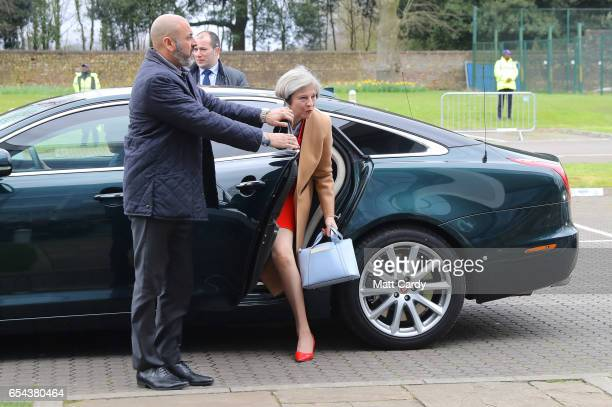 British Prime Minister Theresa May arrives at the Conservative Spring Forum on March 17 2017 in Cardiff Wales In her speech the Prime Minister set...