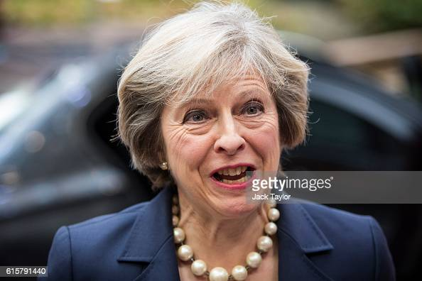 British Prime Minister Theresa May arrives at the Council of the European Union on the first day of a two day summit on October 20 2016 in Brussels...