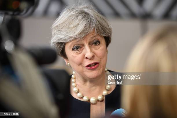 British Prime Minister Theresa May arrives at the EU Council headquarters ahead of a European Council meeting on June 22 2017 in Brussels Belgium In...