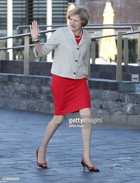 British Prime Minister Theresa May arrives at the Senedd the National Assembly for Wales building for a bilateral meeting with the First Minister of...