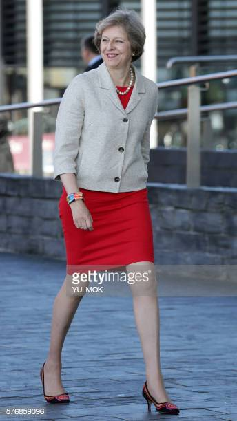 British Prime Minister Theresa May arrives to attend a meeting with the First Minister of Wales Carwyn Jones at the Senedd the National Assembly for...