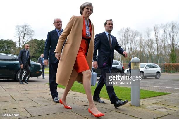 British Prime Minister Theresa May arrives to attend the Conservative Party Spring Conference in Cardiff south Wales on March 17 2017 British Prime...