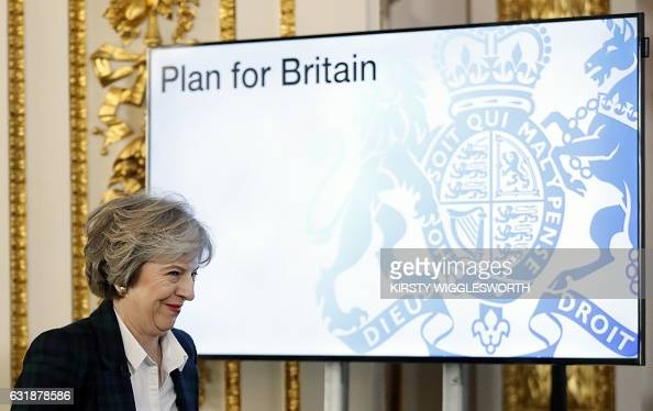 TOPSHOT British Prime Minister Theresa May arrives to deliver a speech on the government's plans for Brexit at Lancaster House in London on January...