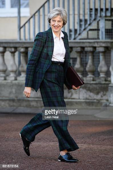 British Prime Minister Theresa May arrives to deliver her keynote speech on Brexit at Lancaster House on January 17 2017 in London England It is...