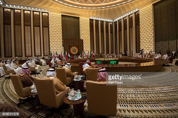 British Prime Minister Theresa May attends a plenary session on the second day of the Gulf Cooperation Council summit on December 7 2016 in Manama...