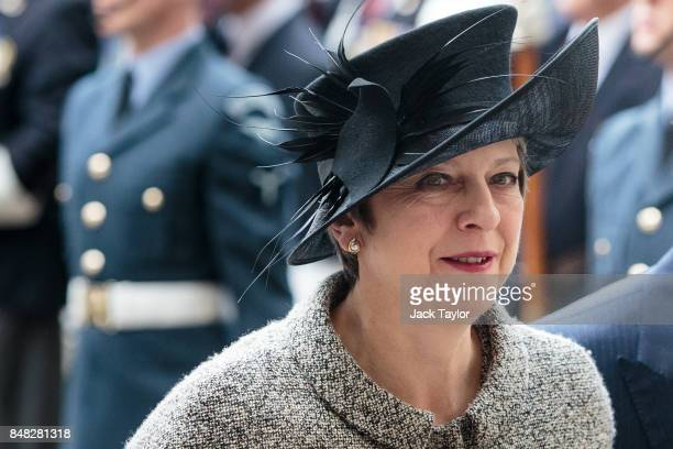 British Prime Minister Theresa May attends a service to mark the 77th anniversary of the Battle of Britain at Westminster Abbey on September 17 2017...