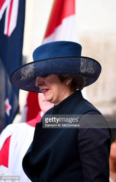 British Prime Minister Theresa May attends the annual Commonwealth Day service and reception during Commonwealth Day celebrations on March 13 2017 in...