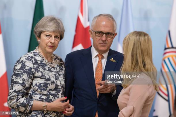 British Prime Minister Theresa May Australian Prime Minister Malcom Turnbull and daughter and advisor to US President Trump Ivanka Trump attend a...