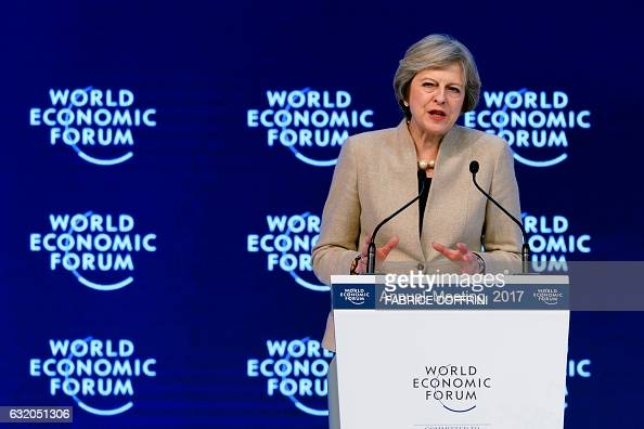 British Prime Minister Theresa May delivers a speech on the third day of the Forum's annual meeting on January 19 2017 in Davos Theresa May addresses...