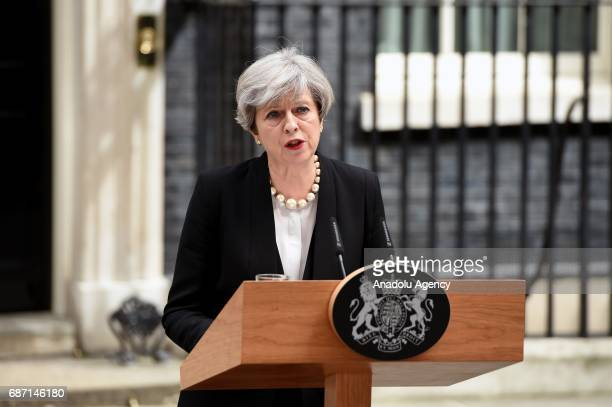 British Prime Minister Theresa May delivers a statement outside number 10 Downing Street in London United Kingom on May 23 2017 A large explosion was...
