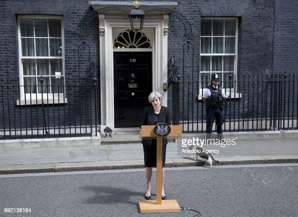 British Prime Minister Theresa May delivers a statement outside number 10 Downing Street following the terror attack at London Bridge and Borough...
