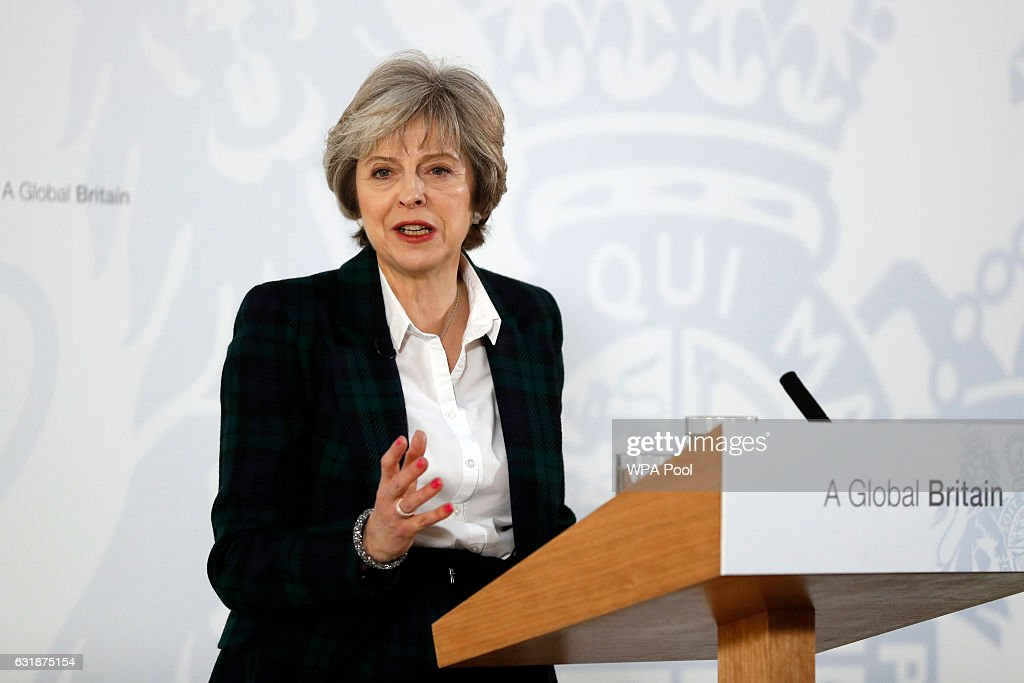 British Prime Minister Theresa May delivers her keynote speech on Brexit at Lancaster House on January 17, 2017 in London, England. It is widely expected that she will announce that the UK is to leave the single market.