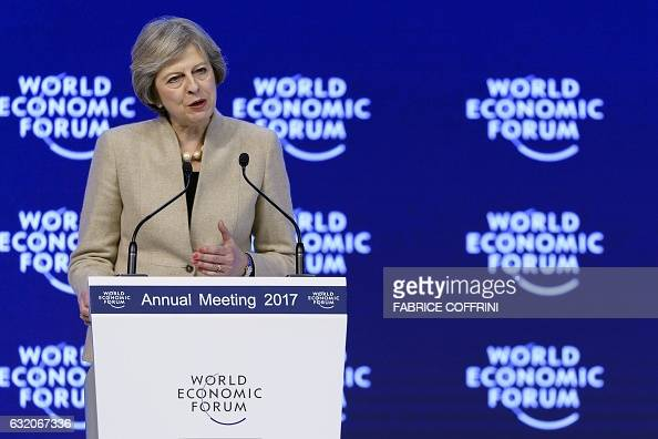 British Prime Minister Theresa May delivers her speech on the third day of the Forum's annual meeting on January 19 2017 in Davos Theresa May...