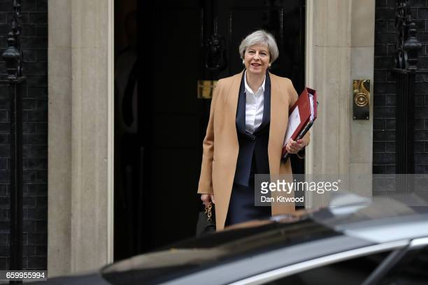 British Prime Minister Theresa May departs 10 Downing Street on March 29 2017 in London England Later today British Prime Minister Theresa May will...