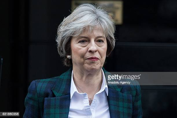 British Prime Minister Theresa May departs No10 Downing Street for British Prime Minister Theresa May's weekly cabinet meeting in London England on...