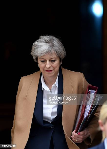British Prime Minister Theresa May departs No10 Downing Street for Prime Ministers questions in London England on March 29 2017 Later today British...