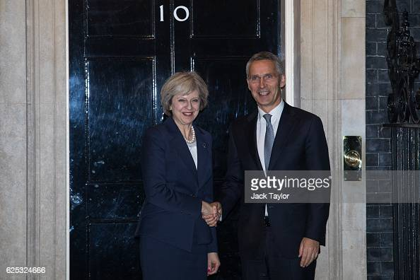British Prime Minister Theresa May greets Secretary General of NATO Jens Stoltenberg outside 10 Downing Street on November 23 2016 in London England...