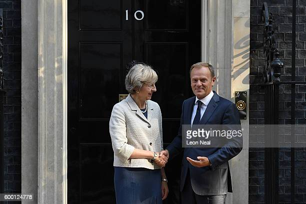 British Prime Minister Theresa May greets the President of the European Council Donald Tusk in Downing Street on September 8 2016 in London England...