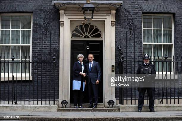 British Prime Minister Theresa May greets The President of the European Council Donald Tusk to 10 Downing Street on April 6 2017 in London England...
