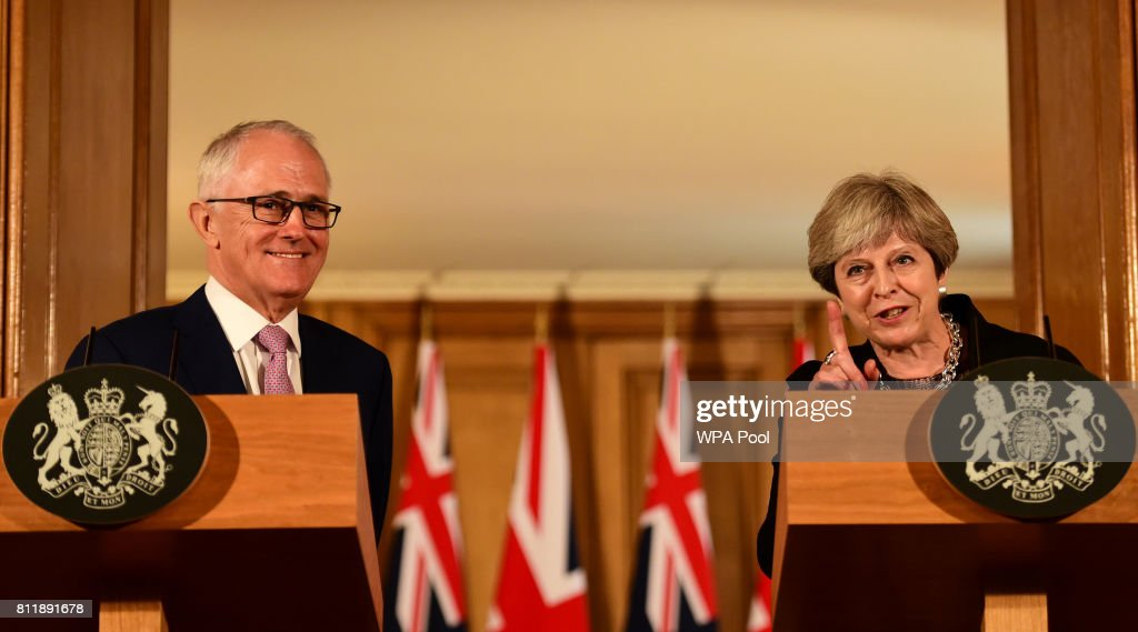 British Prime Minister Theresa May holds a press conference with Australia's Prime Minister Malcolm Turnbull at Downing Street on July 10, 2017 in London, England.