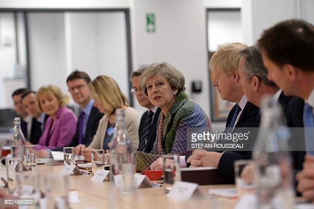 British Prime Minister Theresa May holds a regional Cabinet meeting in Runcorn north west England on January 23 2017 Theresa May will use the meeting...