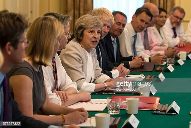 British Prime Minister Theresa May holds her first Cabinet Meeting at Downing Street on July 19 2016 in London England The new British Prime Minister...
