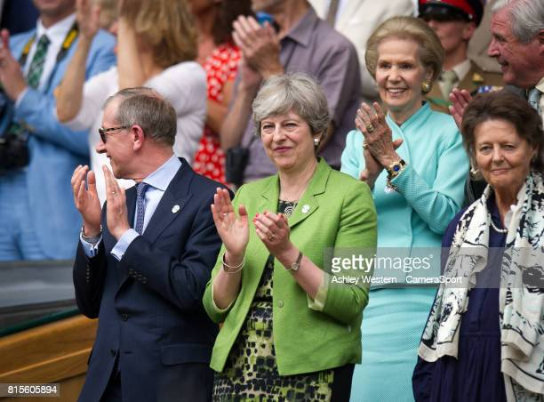 British Prime Minister Theresa May in attendance at the Gentlemen's Singles Final at Wimbledon on July 16 2017 in London England