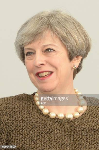 British Prime Minister Theresa May is pictured during a bilateral meeting with Welsh First Minister Carwyn Jones at the Liberty Stadium in Swansea...