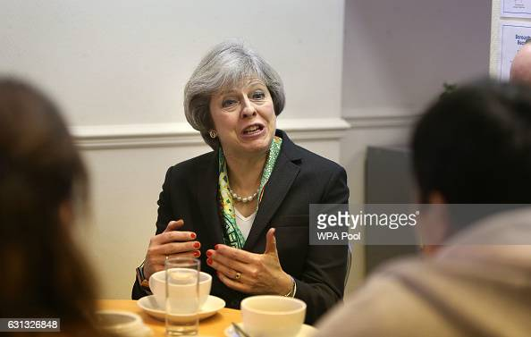 British Prime Minister Theresa May is seen during her visit to the Wellbeing Centre on January 09 2016 in Aldershot United Kingdom The centre...