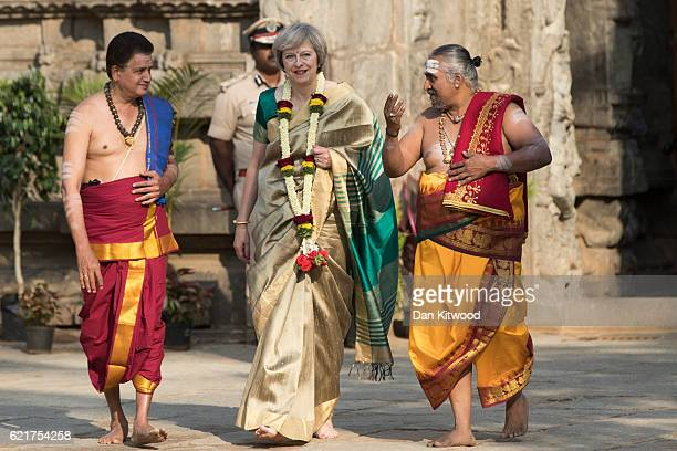 British Prime Minister Theresa May is welcomed to the Sri Someshwara Temple on November 8 2016 in Bangalore India Mrs May is in India on a two day...