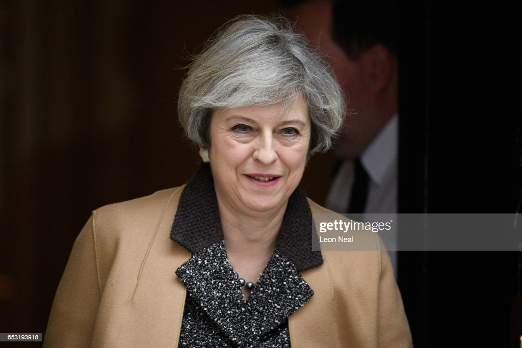 British Prime Minister Theresa May leaves 10 Downing Street before delivering a statement on the EU Council meeting to the House of Commons on March 14, 2017 in London, England. Following a vote in Parliament, British Prime Minister Theresa May now has the power to trigger Article 50, formally beginning the process that will see Britain leave the European Union.