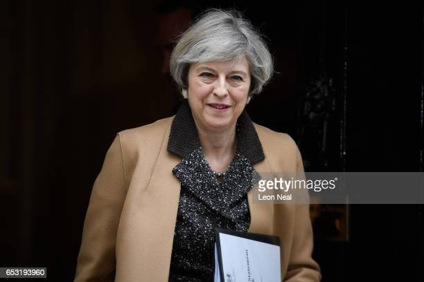 British Prime Minister Theresa May leaves 10 Downing Street before delivering a statement on the EU Council meeting to the House of Commons on March...