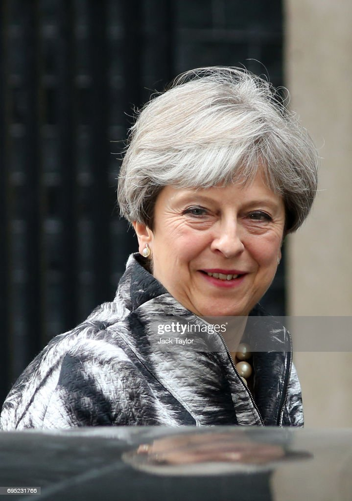 British Prime Minister Theresa May leaves 10 Downing Street for the 1922 committee on June 12, 2017 in London, England. British Prime Minister Theresa May held her first cabinet meeting with her re-shuffled team today.