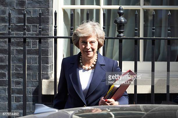 British Prime Minister Theresa May leaves 10 Downing street in London on July 20 2016 on her way to the House of Commons to face her first session of...