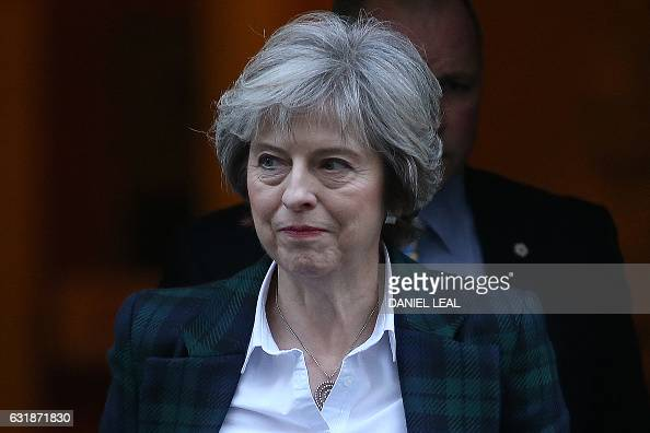 British Prime Minister Theresa May leaves 10 Downing Street in London on January 17 2017 May chaired the weekly meeting of the Cabinet ahead of a...