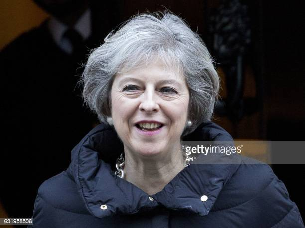 British Prime Minister Theresa May leaves 10 Downing Street in central London on January 18 before attending the weekly Prime Minister's Questions at...