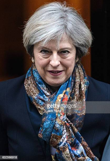 British Prime Minister Theresa May leaves 10 Downing Street on January 24 2017 in London England British Supreme Court judges have today ruled by a...