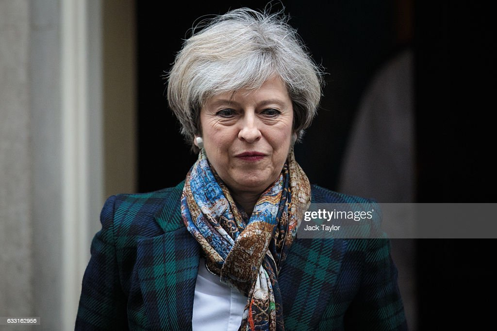 British Prime Minister Theresa May leaves 10 Downing Street on January 31, 2017 in London, United Kingdom. Last night thousands of protestors demonstrated around the UK against President Trump's State Visit invitation. Today the Prime Minister's office said that a visit from the President was 'months away'.