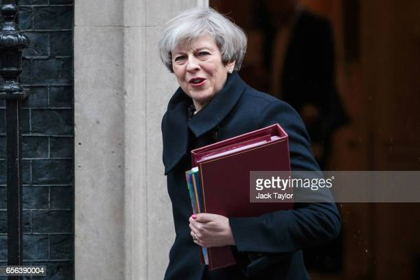 British Prime Minister Theresa May leaves 10 Downing Street on March 22 2017 in London England Theresa May is to trigger Article 50 on March 29 2017...