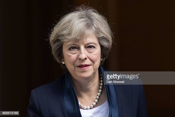 British Prime Minister Theresa May leaves 10 Downing Street to attend the weekly Prime Ministers Questions on September 14 2016 in London England...