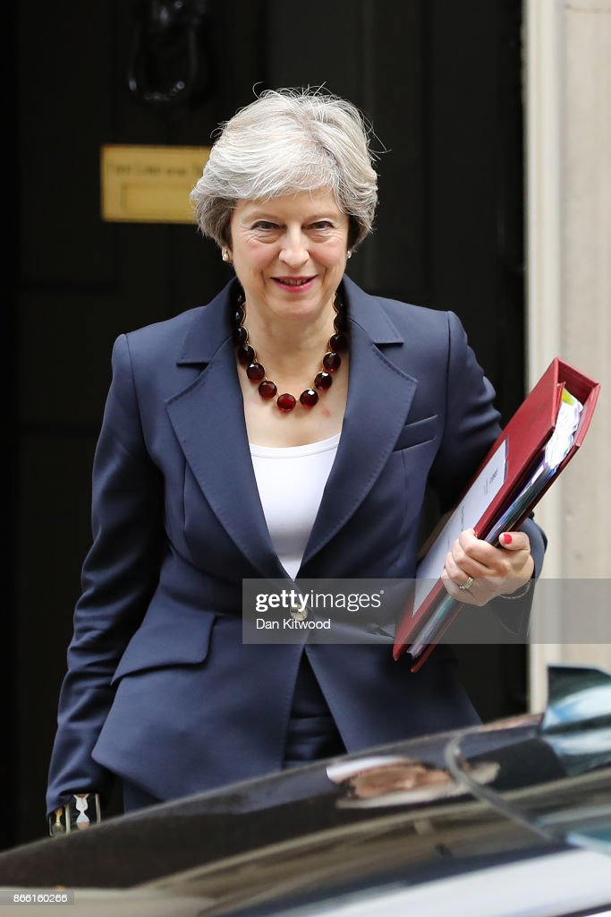 British Prime Minister Theresa May leaves 10 Downing Street to attend the weekly Prime Ministers Questions on October 25, 2017 in London, England.