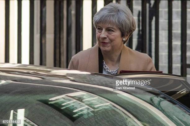 British Prime Minister Theresa May leaves 10 Downing Street to head to Parliament on April 19 2017 in London England Mrs May will go to the commons...