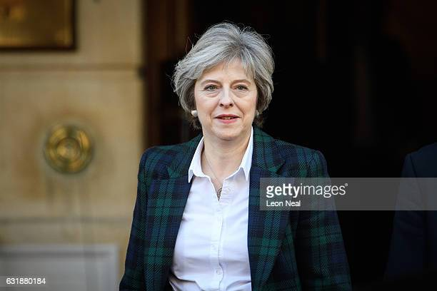 British Prime Minister Theresa May leaves after delivering her keynote speech on Brexit at Lancaster House on January 17 2017 in London England In...
