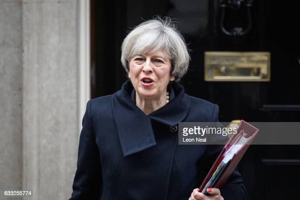 British Prime Minister Theresa May leaves for the weekly PMQ session in the House of Commons at Downing Street on February 1 2017 in London England...