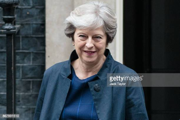 British Prime Minister Theresa May leaves Number 10 Downing Street on October 19 2017 in London England Ms May is to meet with other European leaders...