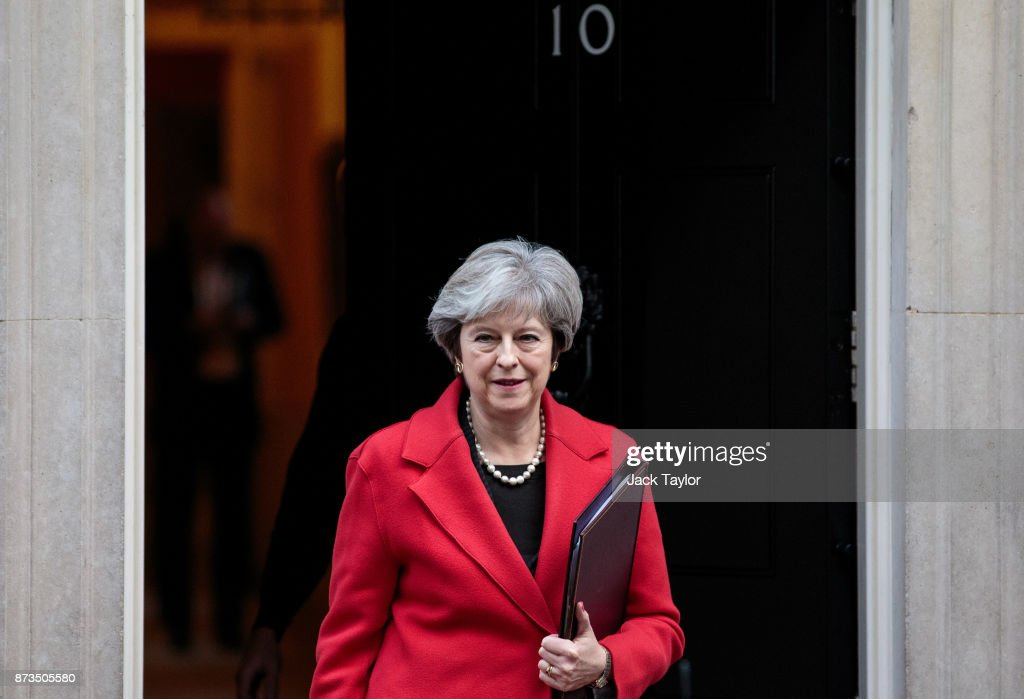 British Prime Minister Theresa May leaves Number 10 Downing Street on November 13, 2017 in London, England. Mrs May is to hold a meeting with European business leaders today over their concerns about the future of UK-EU trade arrangements after Brexit.