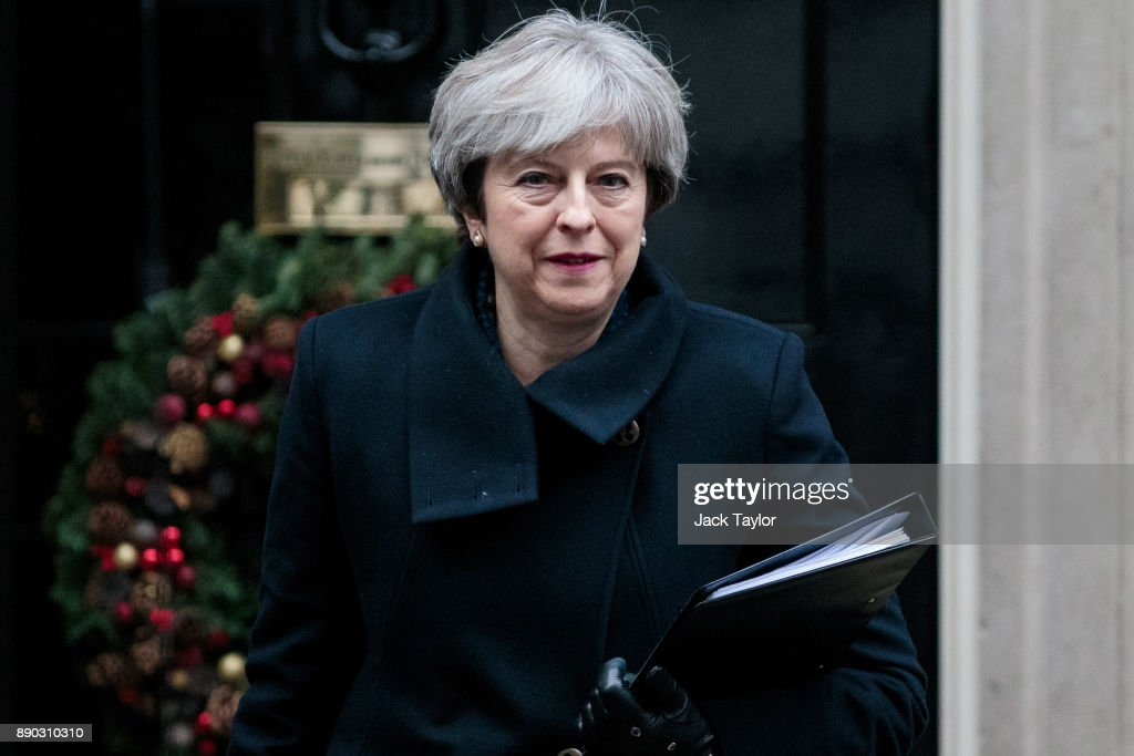 British Prime Minister Theresa May leaves Number 10 Downing Street on December 11, 2017 in London, England. Mrs May is to address MPs in Parliament this afternoon with an update on Brexit as negotiations with the European Union move on to the next phase.