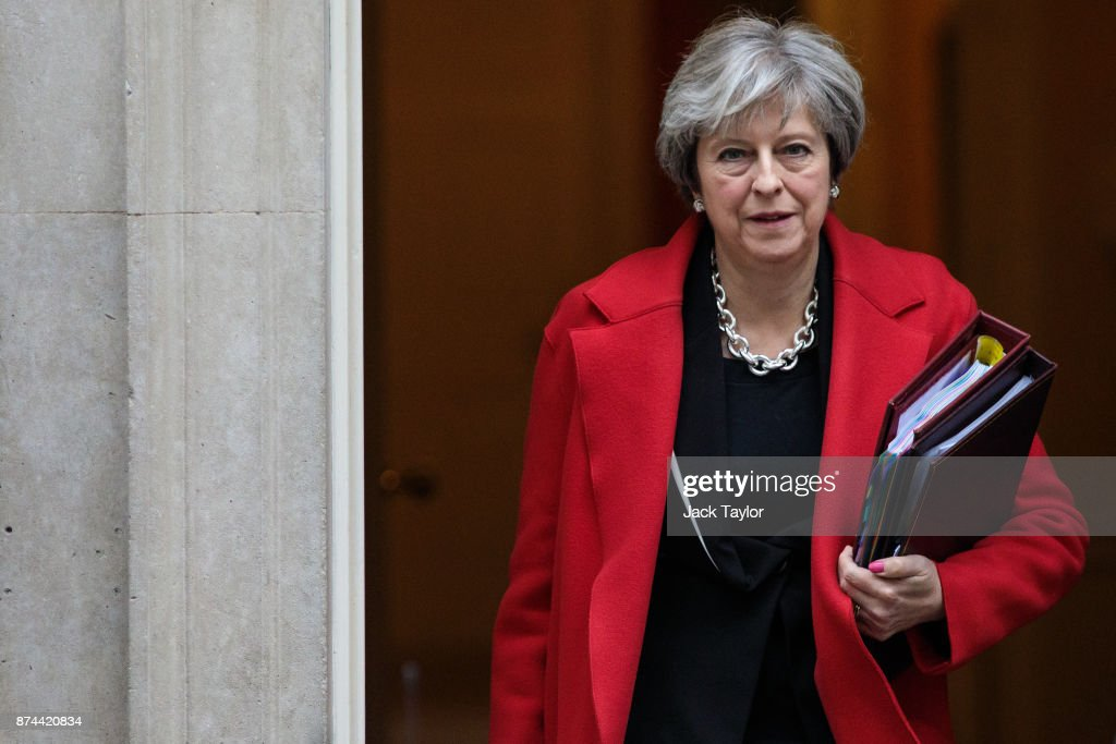 British Prime Minister Theresa May leaves Number 10 Downing Street for Prime Ministers' Questions in Parliament on November 15, 2017 in London, England. MPs in the House of Commons are to spend a second day debating the EU Withdrawal Bill with some Tories signalling they may rebel against government plans on Brexit.