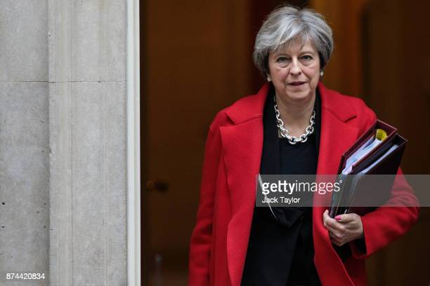 British Prime Minister Theresa May leaves Number 10 Downing Street for Prime Ministers' Questions in Parliament on November 15 2017 in London England...