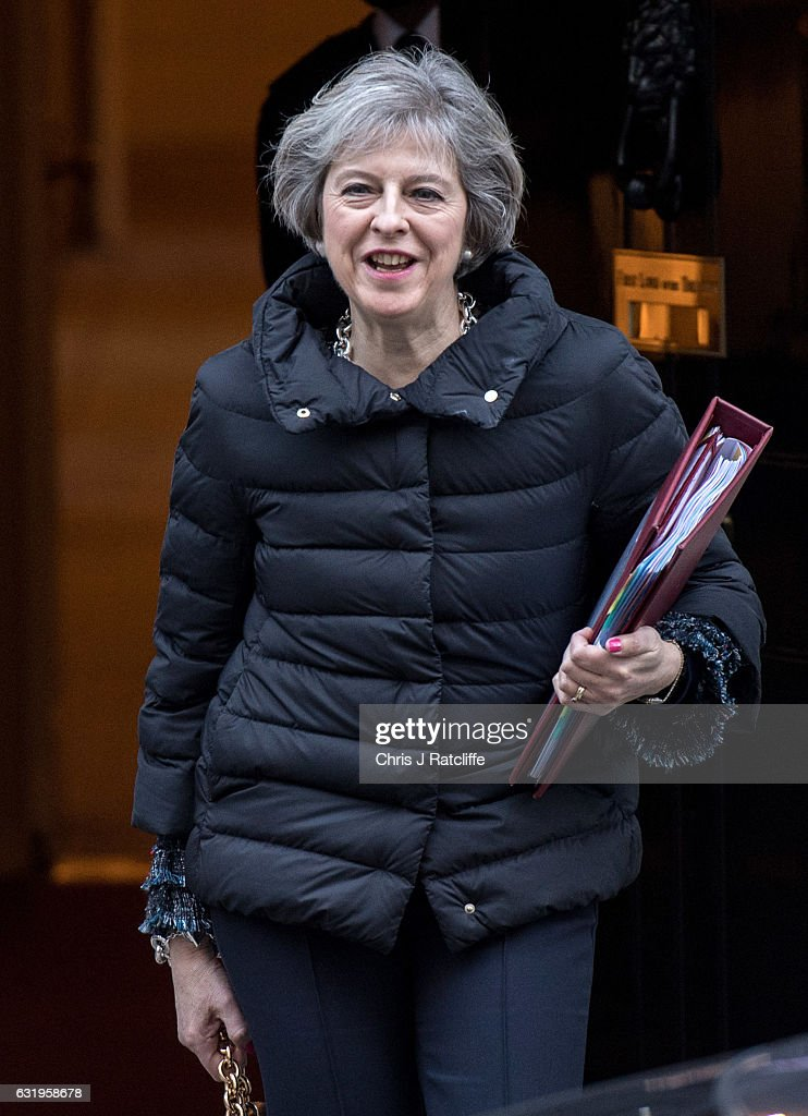 British Prime Minister Theresa May leaves number 10 Downing Street to attend Prime Minister's Questions on January 18, 2017 in London, England. This week's Prime Minister's Questions comes a day after Theresa May's speech outlining Brexit negotiations.